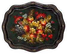 Plateau Jostovo métal peint a Russie, Nature morte Fruits Plateau peint Zhostovo