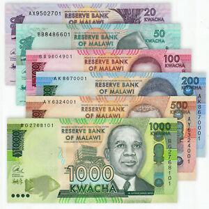 MALAWI 20 50 100 200 500 1000 Kwacha SET 6 PCS 2014-2016 P-60 63 64 65 66 67 UNC