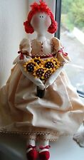 PRIMITIVE FOLK ART SEWING PATTERN 'ELIZA' RAG DOLL WITH SUNFLOWERS