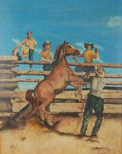 Vintage Oil Painting Cowboy w Rearing Horse in Split Rail Corral w Kids watching