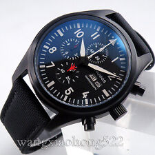 42mm Parnis PVD luminous case black dial Full chronograph daydate WATCH PN244