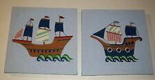 S/2 Laura Ashley Embroidered Fabric Wall Art Pictures Pirate Ships Nautical