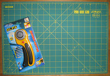 """OLFA Rotary Cutter RTY-2/DX & Cutting Mat RM-IC-C 12"""" X 18"""" Fabric Leather Paper"""