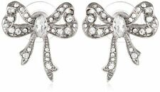 NEW BETSEY JOHNSON SILVER TONE,CRYSTAL,STONE,GLITZ BOW TIGH STUDS EARRINGS