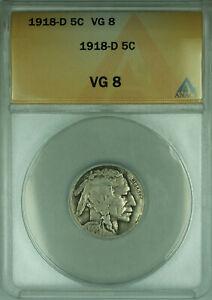 1918-D Buffalo Nickel 5c Coin ANACS VG-8