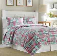 (1) Nautica Sutter Creek Standard Quilted Pillow Sham : Blue /Pink : Cotton New