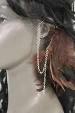 New Women Ear Cuff Boho Chic Rocker Brown Feather Silver Chains Cross Statement
