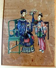 More details for 18th century chinese qing dynasty watercolour on paper courtly scene portrait