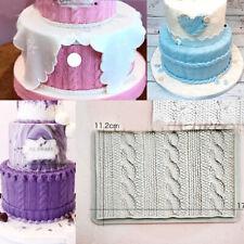 Knitting Silicone Fondant Mould Baking Chocolate Cake Wave Embosser Border Mold