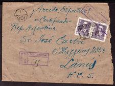 2371 SPAIN TO ARGENTINA CIVIL WAR CENSORED REGISTERED COVER 1939 VALENCIA -LANUS