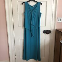 Susan Graver Maxi Dress Size Medium Teal Sz M Sleeveless