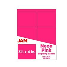 Jam Paper Mailing Address Labels 3 13 X 4 Neon Pink Pack Of 120
