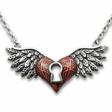Winged Heart Necklace Love Pendant with Red Keyhole Jewelry By Controse