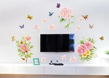 Butterflies Flowers Home Room Decor Removable Wall Stickers Decal Decorations