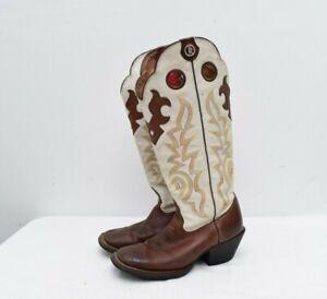 Tony Lama 3R Square Toe White/Brown Tall Buckaroo Cowboy Boots Size 8B