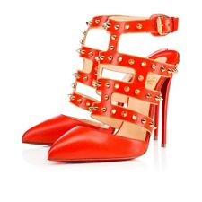 CHRISTIAN LOUBOUTIN TCHICABOUM ORANGE RED LEATHER GOLD SPIKES HEELS SHOES 38.5