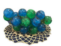 VINTAGE LARGE GREEN & BLUE ACRYLIC CLUSTER  MID CENTURY 20 GRAPES