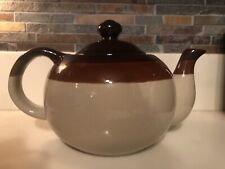 Vintage Redware Teapot Brown Stripes 6 Cup Country Quaint Collectible Perfect