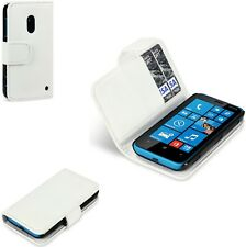 For Nokia Lumia 620 PU Leather Wallet Case Cover - White