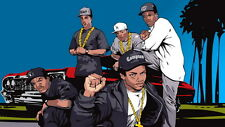 "25 NWA- Ice Cube Dr Dre Gangsta Rap Art 25""x14"" Poster"