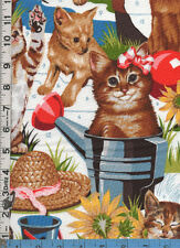 Fabric Henry PAINT THAT KITTY garden paint by number CATS flower pots BTHY