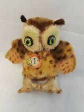 "Vintage Steiff Mohair Stuffed Animal OWL 4"" Tall"