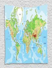 World Map Earth Ocean Tapestry Wall Hanging for Room Living Room Bedroom Dorm