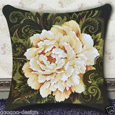 Stickpackung Kissen Pfingstrose 46x46cm Peony Flower Beige DIY #F30004