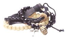 Confezione da 3 Perline Croce Bianca, Nera Teschio di Cristallo/Multi Strand Bracciale in pelle (zx219)