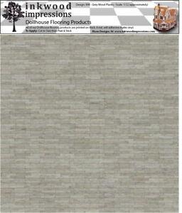 "Dollhouse Flooring 6 mil Peel & Stick Vinyl 12"" x 12"" - Grey Wood Planks 008"