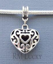 Pendant Dangle Charm Bead HEART FITS European style Bracelet/Necklace C220