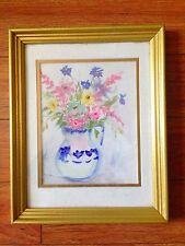 """""""Flowers"""" In a blue transfer ware vase original watercolor gold frame FRENCH"""