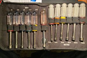 12 Pc USA Craftsman Metric 6MM-11MM & Standard SAE 1/4 - 1/2 Nut Driver Set