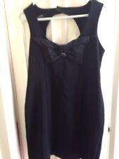 ASOS LITTLE BLACK MINI DRESS BODYCON STYLE BOW TO FRONT  UK 14