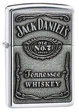 NEW Zippo Jack Daniels Label Pewter Emblem Pocket Lighter FREE SHIPPING
