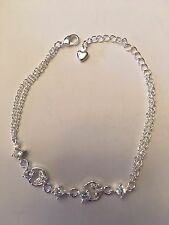 """NEW 7-7.5"""" STERLING SILVER PLATED CLEAR GEMSTONE WITH BUTTERFLY BRACELET --B145"""
