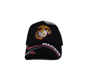 NEW! US MARINE CORPS SEMPER FI USMC FLAG CAP HAT BLACK