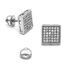 Mens 925 Pure Sterling Silver Stud Square Earring 10mm Lab Cz 6 row