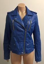 Witchery Blue Zip Detail Leather Biker Jacket Size 10