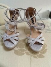 H&M mock croc strappy grey platform sandals UK 3