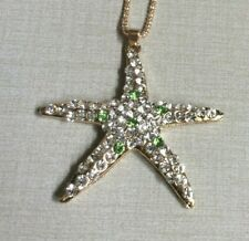 Betsey Johnson Fashion Necklace with Gold Crystal Starfish Pendant Brand New!