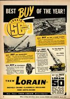 1951 Thew Shovel Co. Print Advertisement: Lorain Model 50 Series Cranes ++