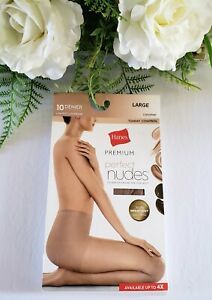 Hanes Premium Perfect Nudes Pantyhose With Tummy Control Caramel Size Large
