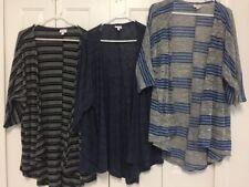 Lot of 3 LuLaRoe Knit Cardigan Sweaters Sz M Medium Blue Black Striped EUC