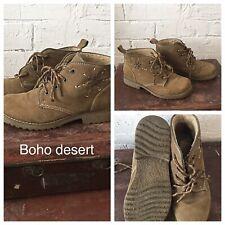 Womens Beige Suede Boots Size 3 Desert Boho Festival Western Cowgirl Vintage Vgc