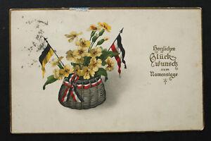 Patriotik Litho AK Namenstag + Sisi Vignette 1915 Österreich + D  K.u.K. 1.WK WW