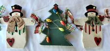 Snowman Christmas Tree Hanging Holiday Wall Decoration Wood Home Interiors