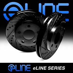Rear R1 Concepts eLine Black Drilled Slotted Brake Rotors