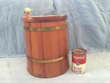 Vintage Wood Firkin Bucket Barrel Ice Bucket Brass Metal Banded Hinged Cover Lid