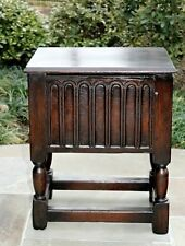 Antique English Dark Oak Turned Post Lift Top Foot Stool Bench Table Pegged